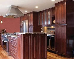 burgundy colored cabinets