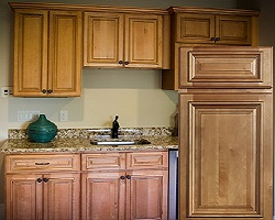 sand colored cabinets