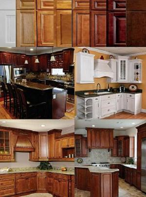 Collage of cabinet door colors from white to dark walnut with finished kitchen pictures